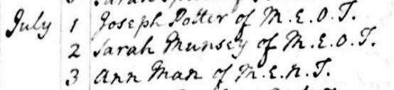 Ann Man Burial Record Jul 3 1765