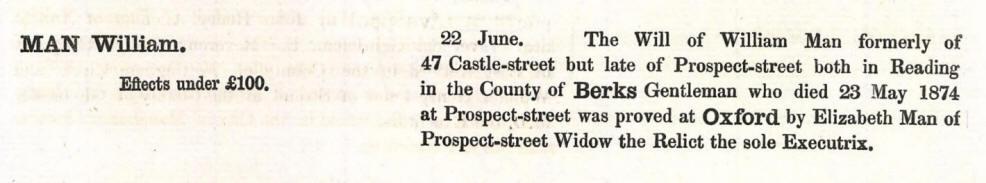 William Man of Reading Probate Record