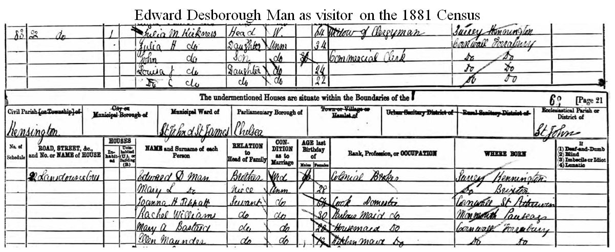 Edward Desborough Man on 1881 Census