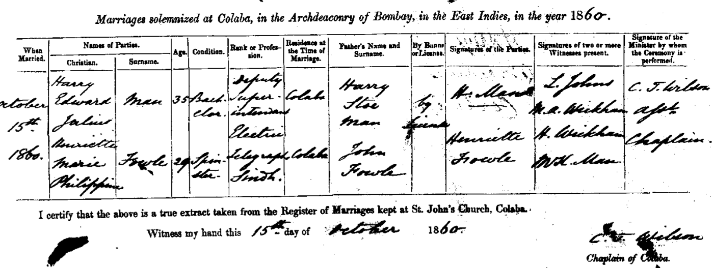 Harry and Henriette's Marriage Certificate