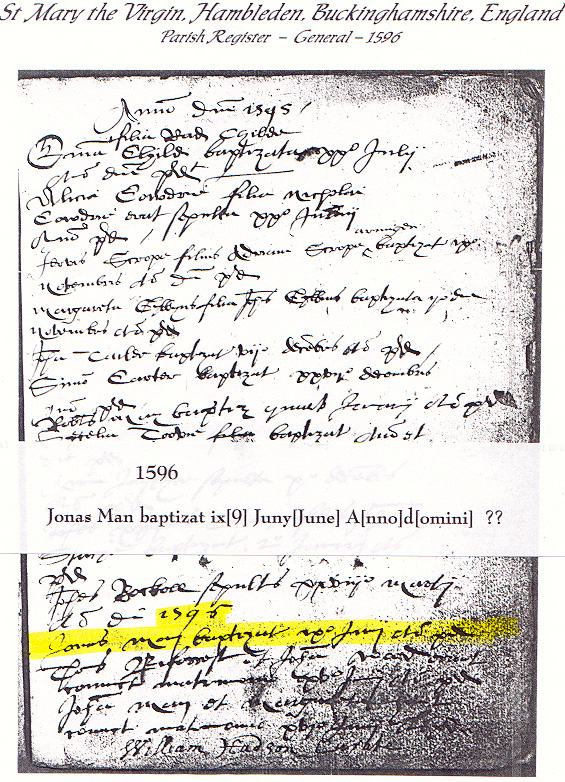 Jonas Man's Baptismal Record 1596