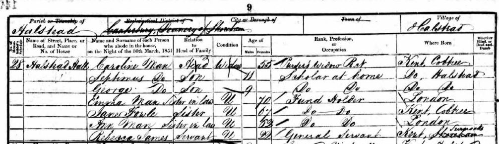 Louisa Caroline Fowle Man and Family on the 1851 census