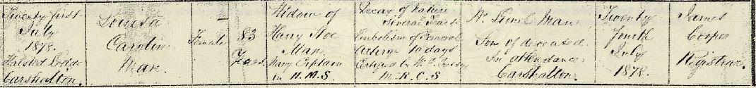 Louisa Caroline (Fowle) Man's Death Certificate