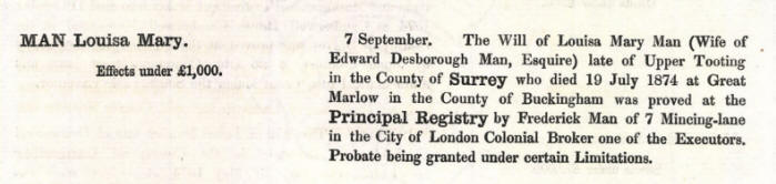 Louisa Mary Man Probate Record
