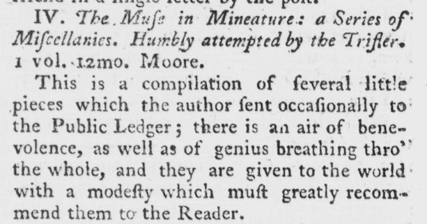 Review in the London Magazine (1771) Vol. 40, p.274