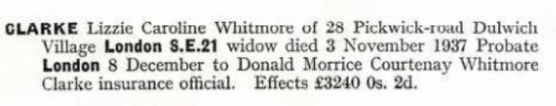 Eliza Caroline Whitmore Clarke Probate 1937