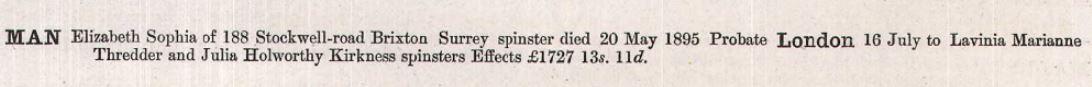 Elizabeth Sophia Man's Probate Record