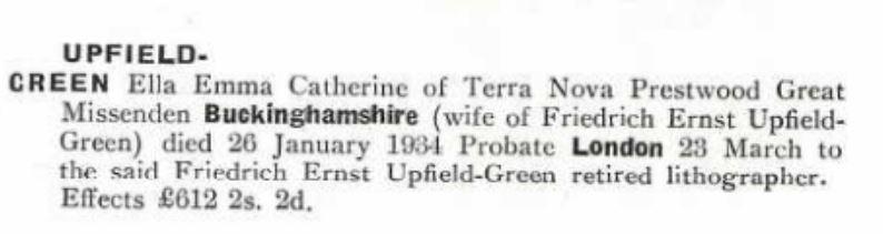 Ella Emma Catherine Upfield Green Probate