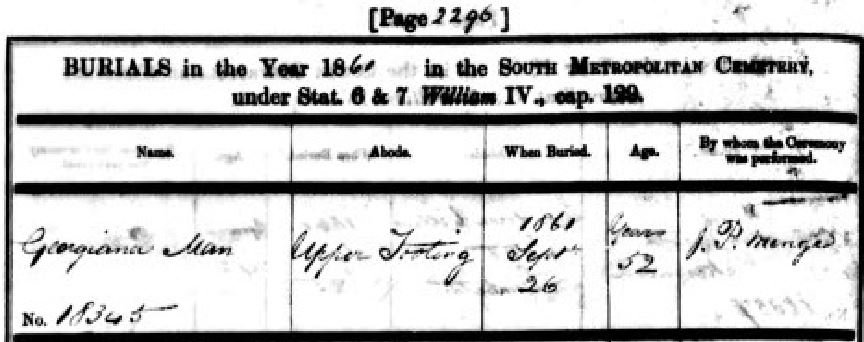Georgiana Man's Burial Record