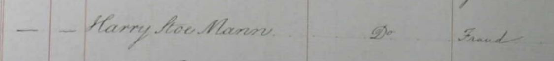 Harry Stoe Man Fraud Charge 1835