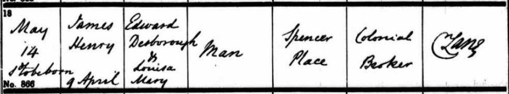 James Henry Man Baptisn son of Edward Desborough Man