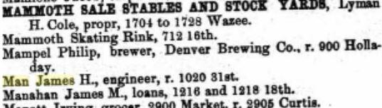 James Henry Man in Denver City Directory