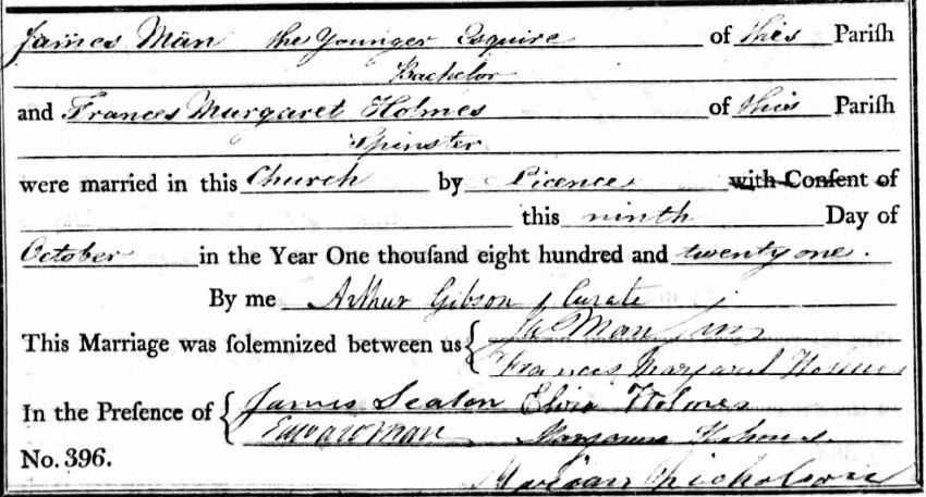 James Man and Frances M Holmes Marriage 9 Oct 1821