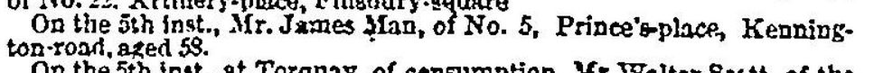 James Man death notice in the Times Mar 8 1849