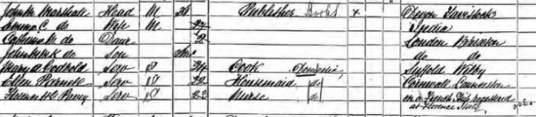 John Maitland Marshall and Family on 1891 census