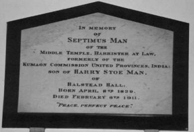 Septimus's Memorial Tablet at St..Margaret's,,Halstead