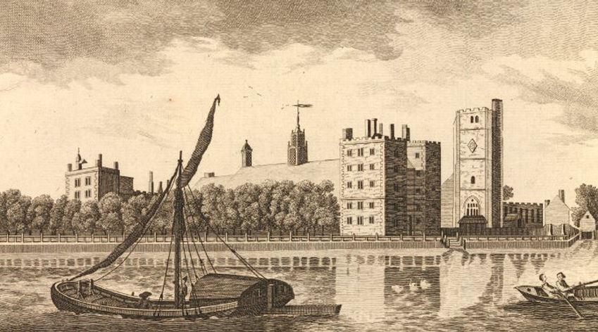 St Mary at Lambeth with the palace and The Thames