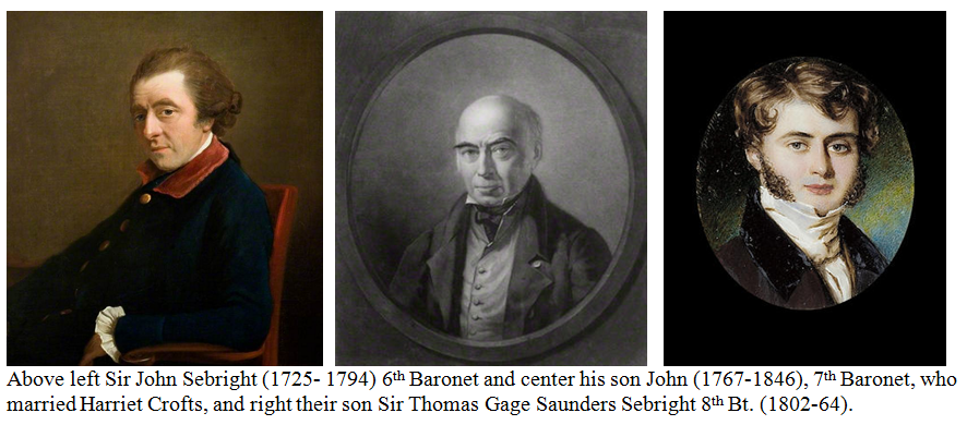 The Sebright Family one of whom married harriet Crofts