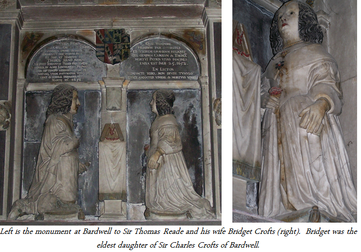 Thomas Reade and wife Bridget Crofts at Bradwell Church
