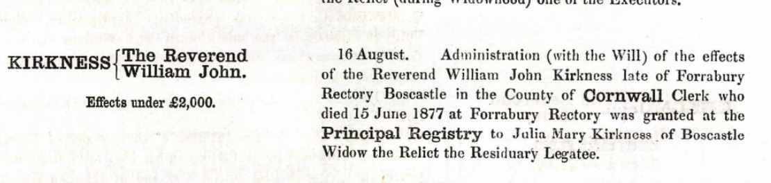 William John Kirkness Probate
