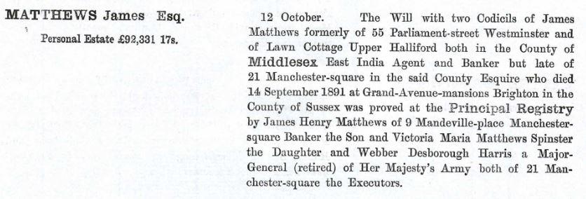 James Matthews Probate