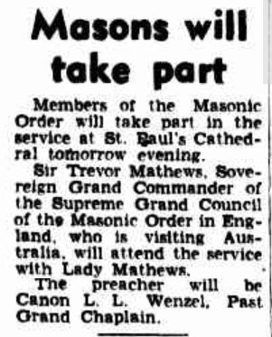 Sir Trevor Matthews Visit to Australia 26 Jan 1952