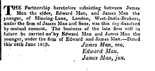 dissolution of James Man Partnership 1819
