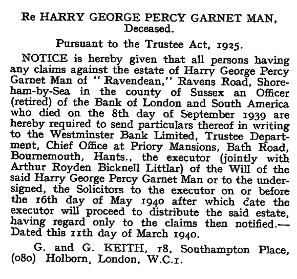 London Gazette 15 March 1940