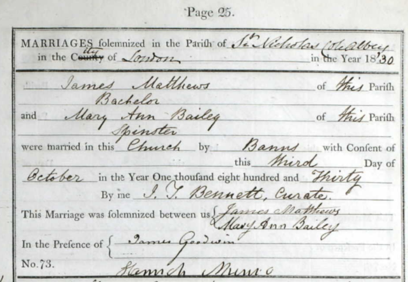 Marriage of James Matthews and Mary Ann Bailey