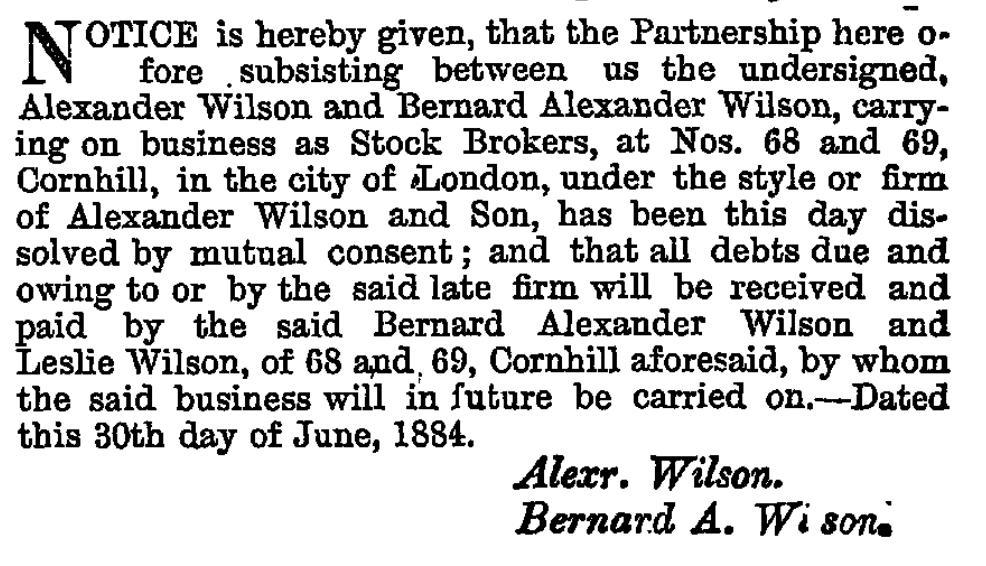Wilson Partnership London Gazette 1884
