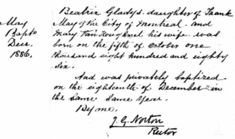 Beatrice Gladys May's baptismal record