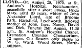 Death of Hilda Lloyd 20 August 1970