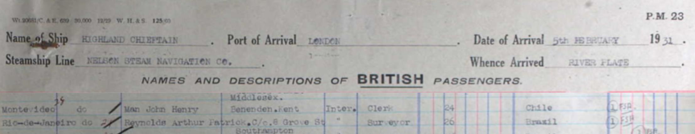 John Henry Man on Passenger List