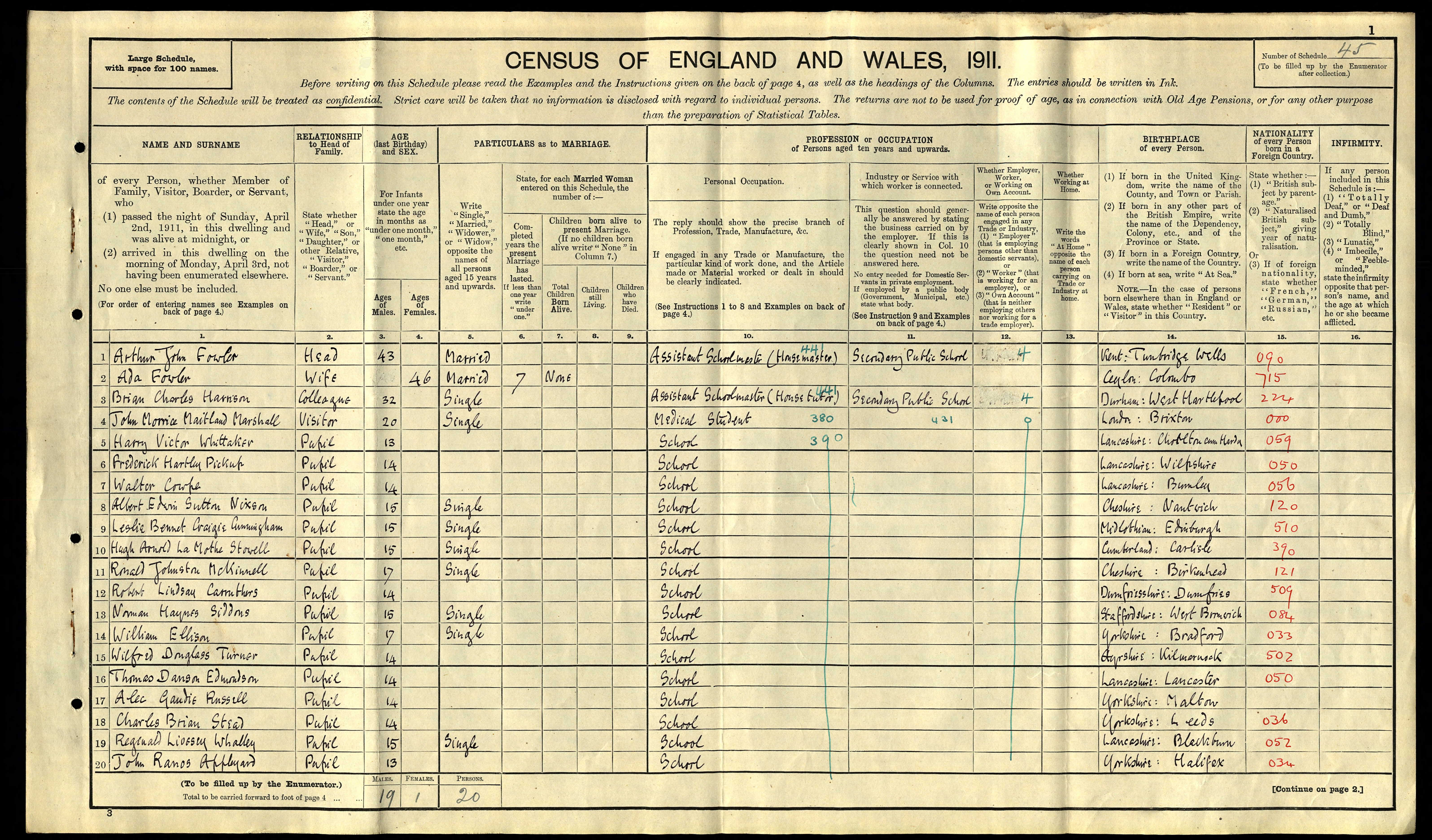 John Morrice Maitland Marshall on 1911 census