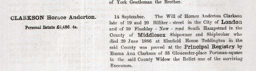 Probate record of Horace Anderton Clarkson