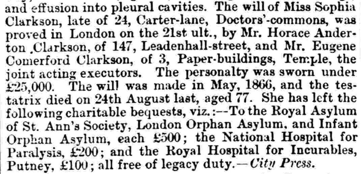 The Will of Sophia Clarkson Notice Jan 8 1870