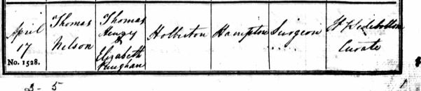 Thomas Nelson Holberton's baptism on 17 April 1833