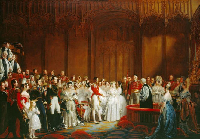 Queen Victoria in her Louis Schwabe wedding dress
