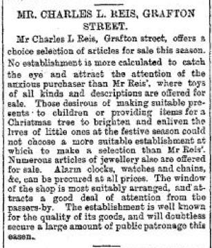 Charles Reis Ad Dec 18 1893 Freeman's Journal