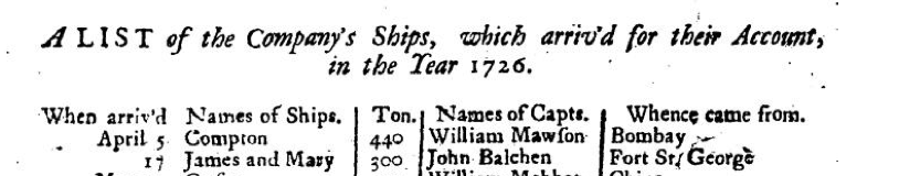 John Balchen listed January 1727