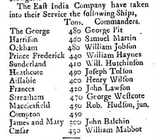 John Balchen listed Sept 1727