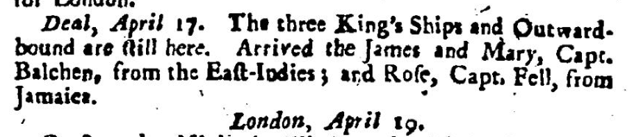 London Evening Post, April 1726