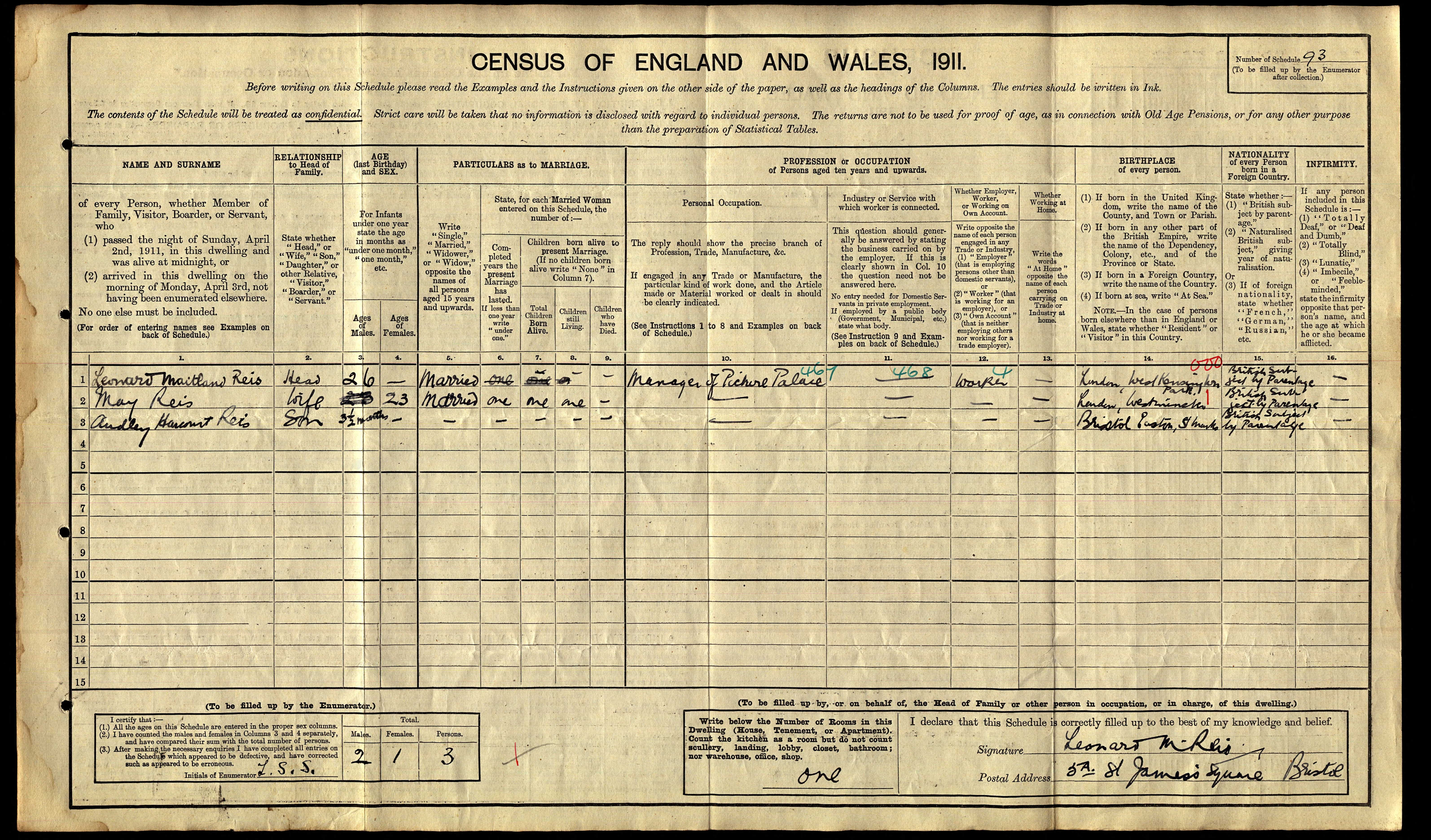 Leonard Maitland Reis 1911 census