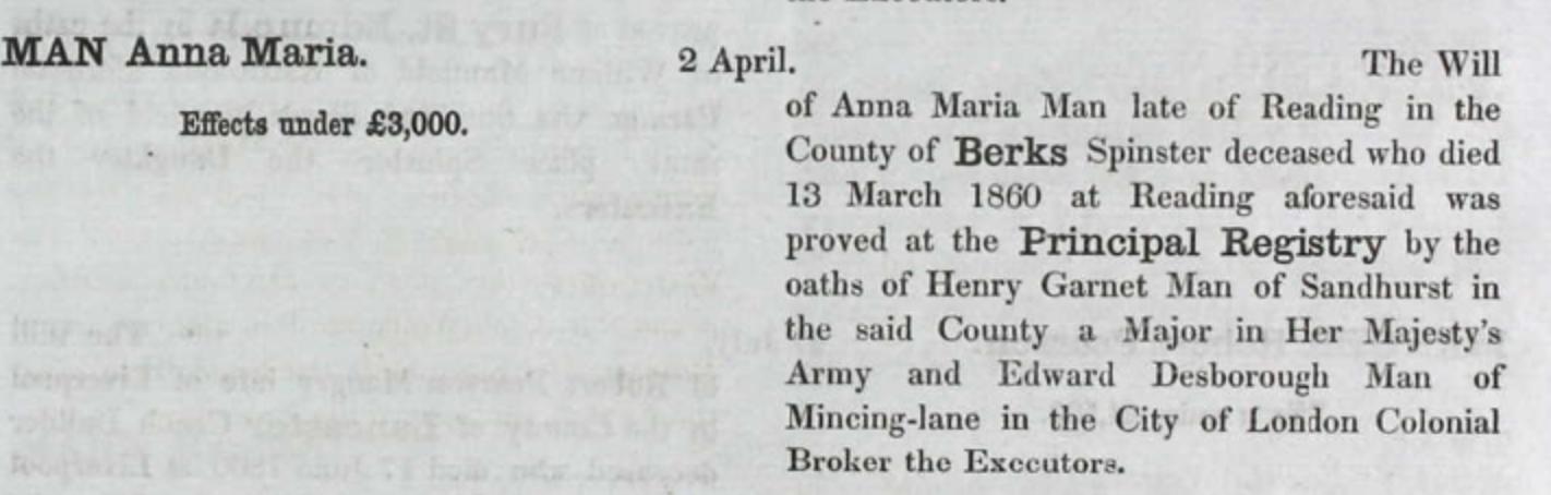 Anna Maria Man Probate 1860