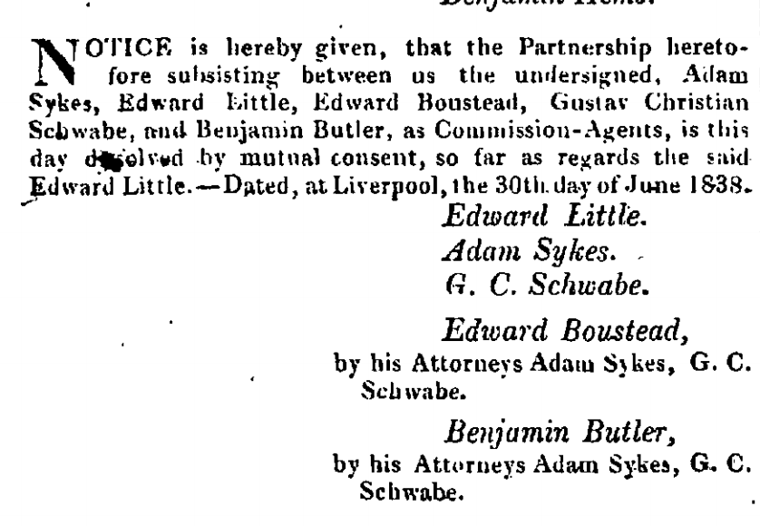 Dissolution of Partnership among Schwabe and Sykes and Little
