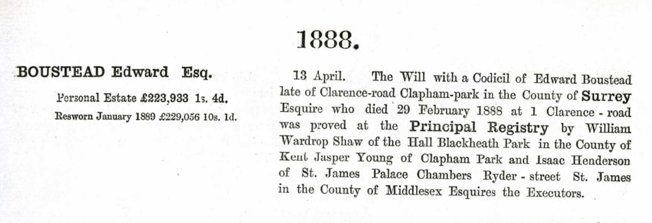 Edward Boustead Probate 1888