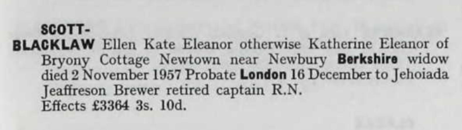 Eleanor Katherine Ellen Man Blacklaw Probate