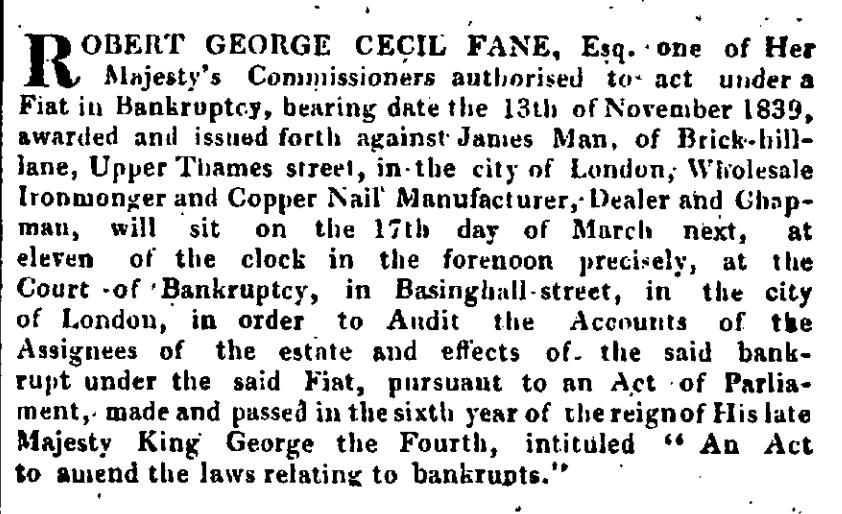 James Man Bankrupt The Gazette