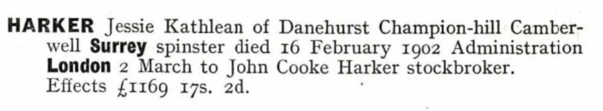 Jessie Kathleen Harker Probate 1902