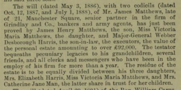 Will of James Matthews Oct 24 1891